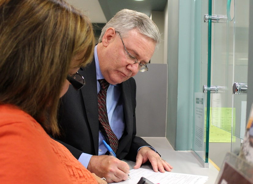 Robin Easterbrook files his nominations papers to run for Mayor of the City of Windsor in the upcoming municipal election. (Photo by Maureen Revait)