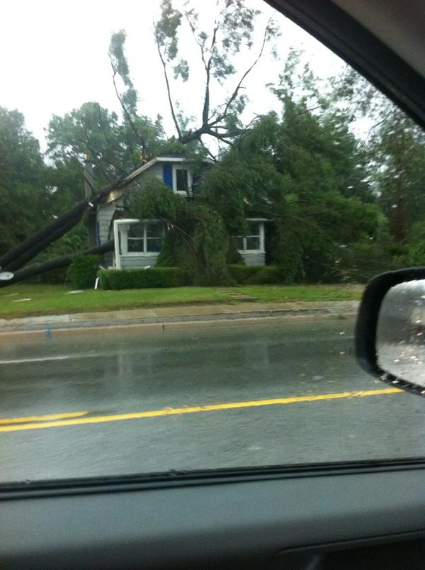 Photo of storm damage at Grand Bend courtesy of James Smith via Twitter