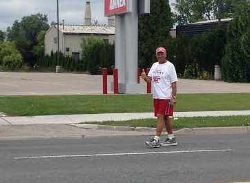 Grandpa Bob walking through Chatham-Kent on his walk to raise money for Jesse's Journey. (Photo courtesy of Christopher Brackett)