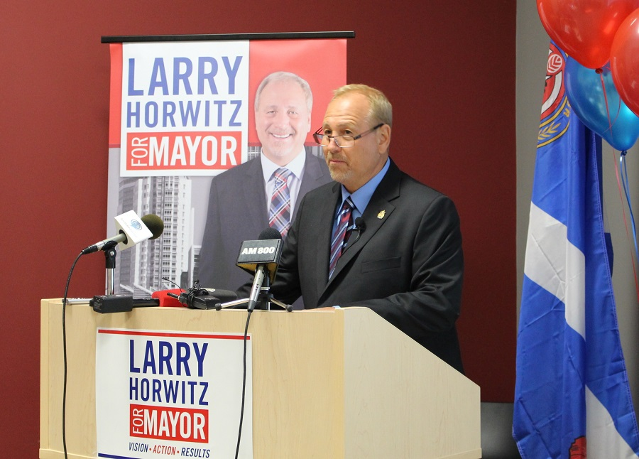 Downtown business man Larry Horwitz announces his candidacy for mayor of the City of Windsor.