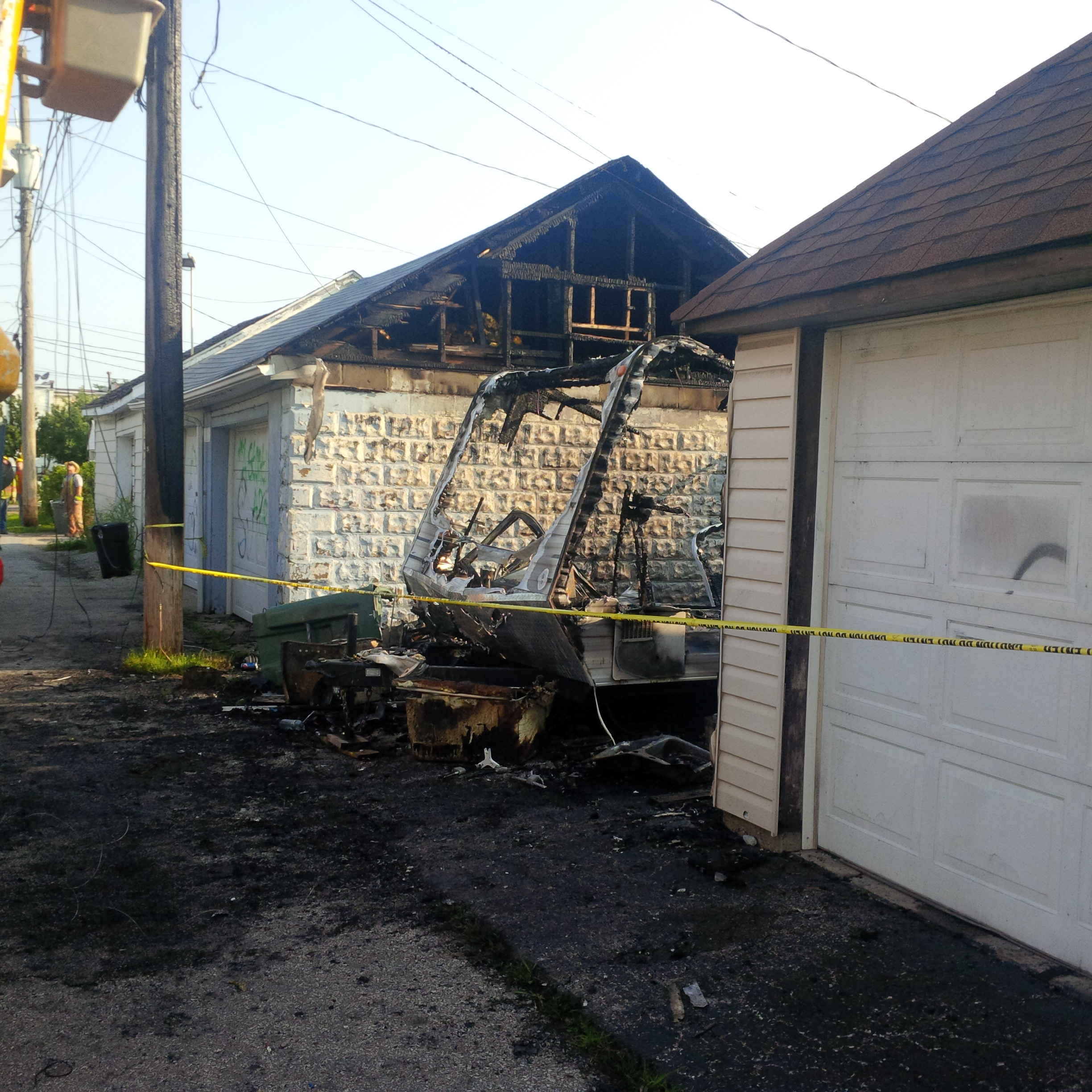 A burnt out recreational trailer Windsor fire crews responded to in the early morning hours on July 29, 2014. (Photo courtesy Lee Tome)
