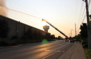 Firefighters battle blaze at Bonduelle factory in Tecumseh on July 18, 2014. (Photo by Adelle Loiselle)