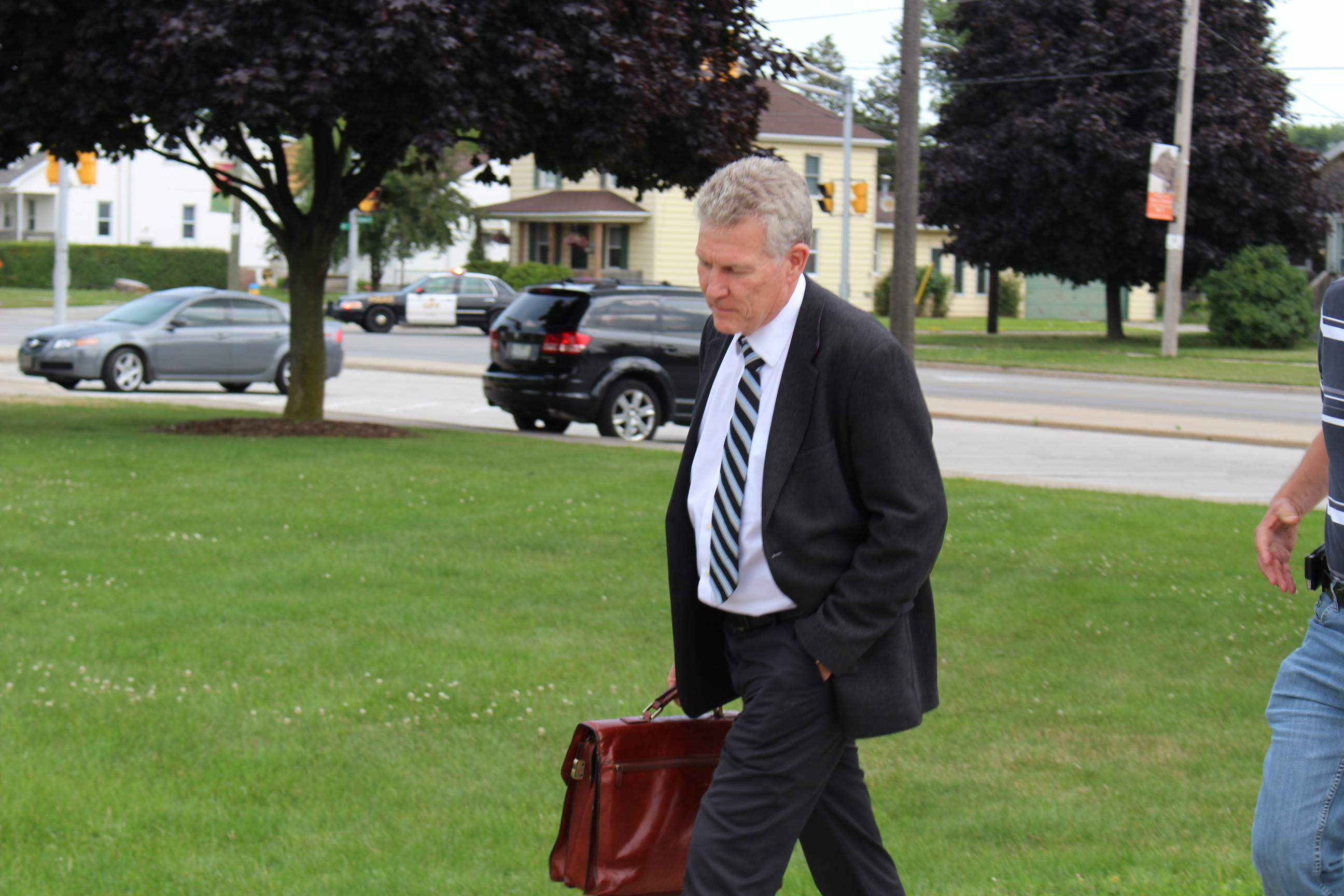 Bonduelle Americas CEO Daniel Vielfaure arrives at Tecumseh Town Hall on July 18, 2014 after a fire destroys the Bonduelle plant in Tecumseh. (Photo by Ricardo Veneza)