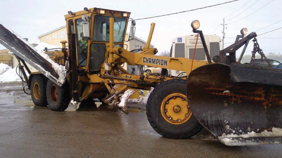 This photo found in a July 21, 2014 council report shows a 20-year-old grader Leamington is trading in as part of its purchase of a new John Deere machine. (BlackburnNews.com file photo)