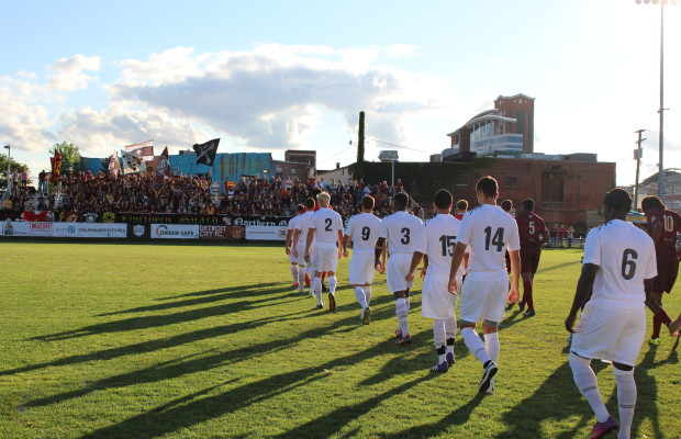 The Windsor Stars take on Detroit City FC in a friendly match at Cass Technical High School in downtown Detroit on July 23, 2014. (Photo by Ricardo Veneza)