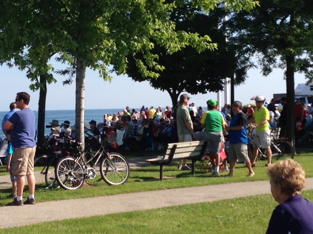 Thousands line the waterfront for the start of the Mackinac yacht race Sat. July 12, 2014 (BlackburnNews.com photo by Sue Storr)