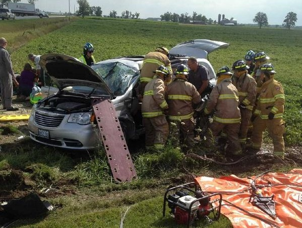 Emergency crews respond to a two-vehicle crash at tge intersection of Perth County Rd. 121 and Perth Line 67, near Milverton, July 31, 2014. (Photo courtesy of William R. Hunter via Twitter)