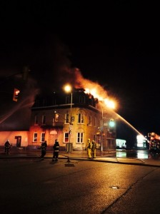 Fire destroys the Queen's Hotel in Seaforth. July 7, 2014. (Photo via Twitter by Gerrid Dalton.)