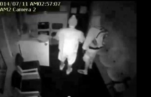 Two suspects on video robbing from St. Vincent de Paul July 11, 2014.