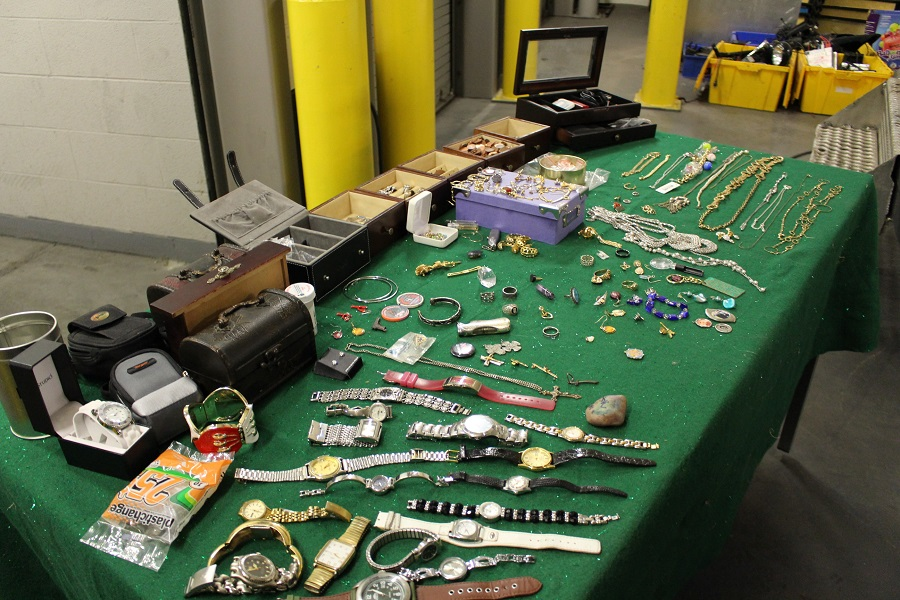 Stolen property recovered by police from a rash of break-ins on the city's east side. (Photo by Maureen Revait)