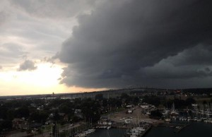 Photo of storm front over Blue Water Bridge July 27, 2014 (photo courtesy of Ryan Bell)