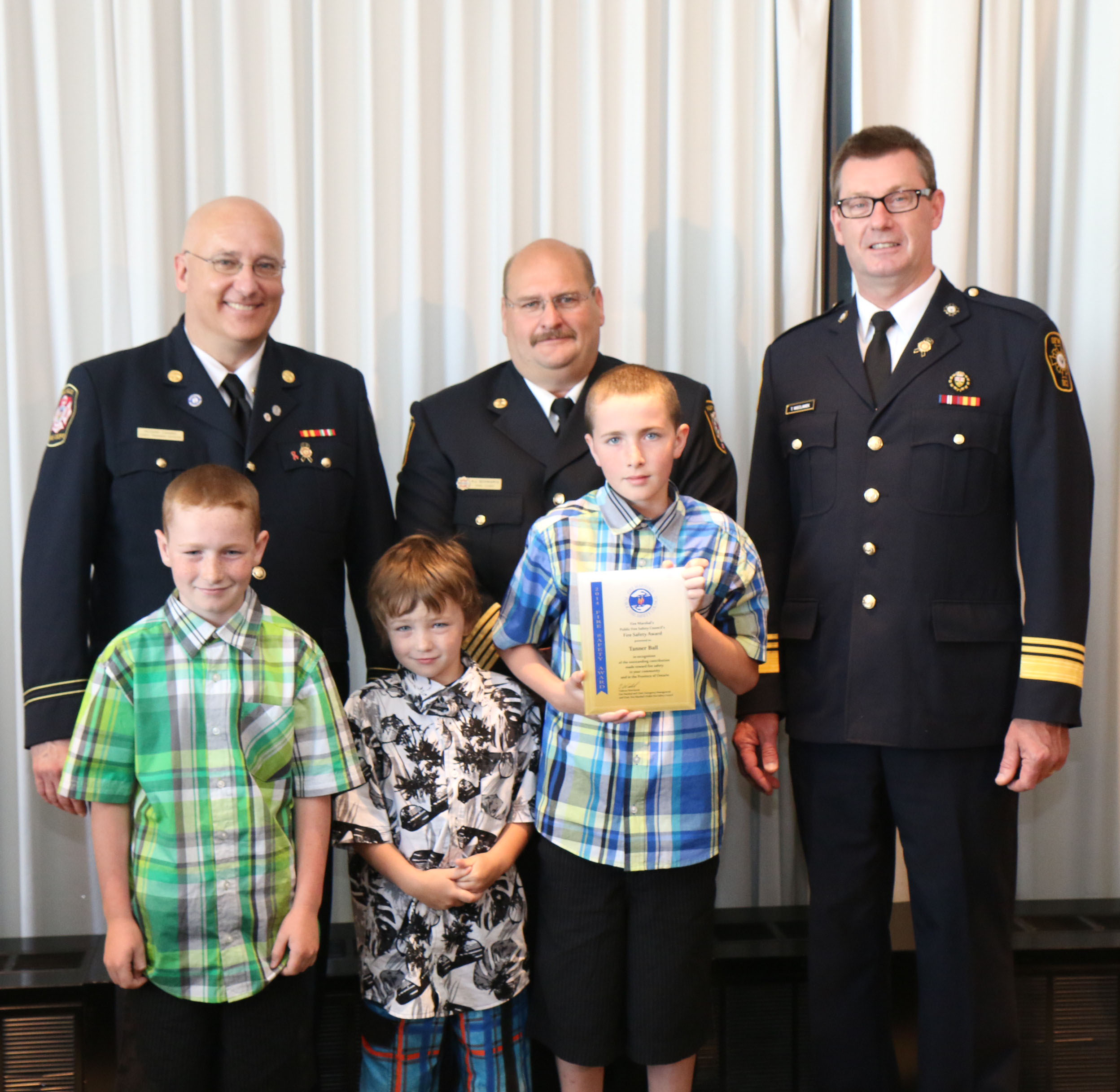 Tanner Ball fire Safety Award from Fire Marshal.