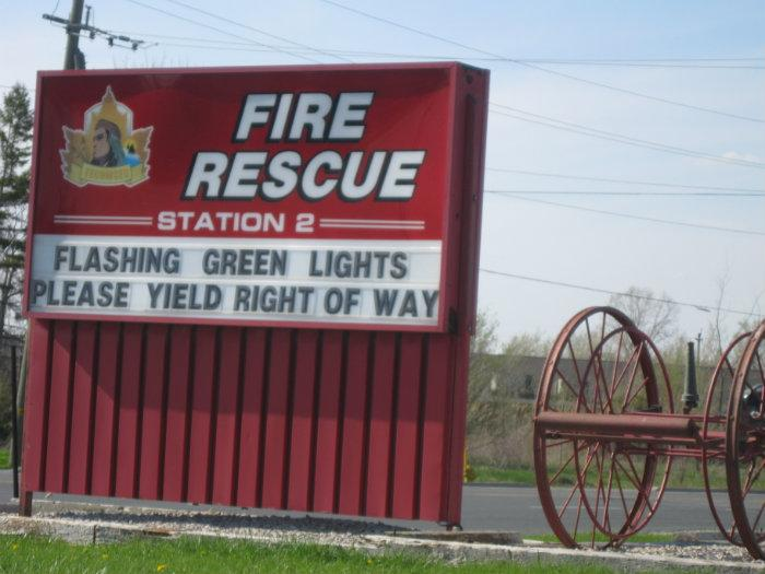 The sign outside Tecumseh's fire station two. (BlackburnNews.com file photo)