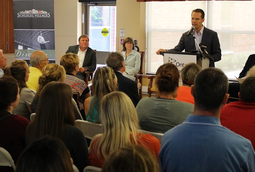 President and CEO of Schlegel Villages James Schlegel talks to 150 employees set to work at the Village At St. Clair, July 25, 2014. (photo by Mike Vlasveld)