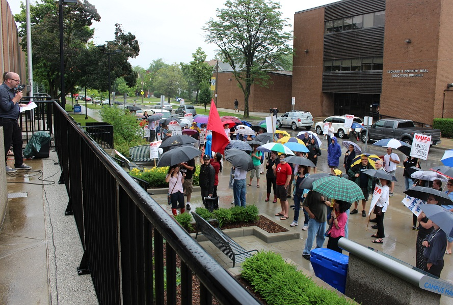 WUFA members gather at a rally at the University of Windsor campus as negotiations continue, July 8, 2014. (Photo by Maureen Revait)