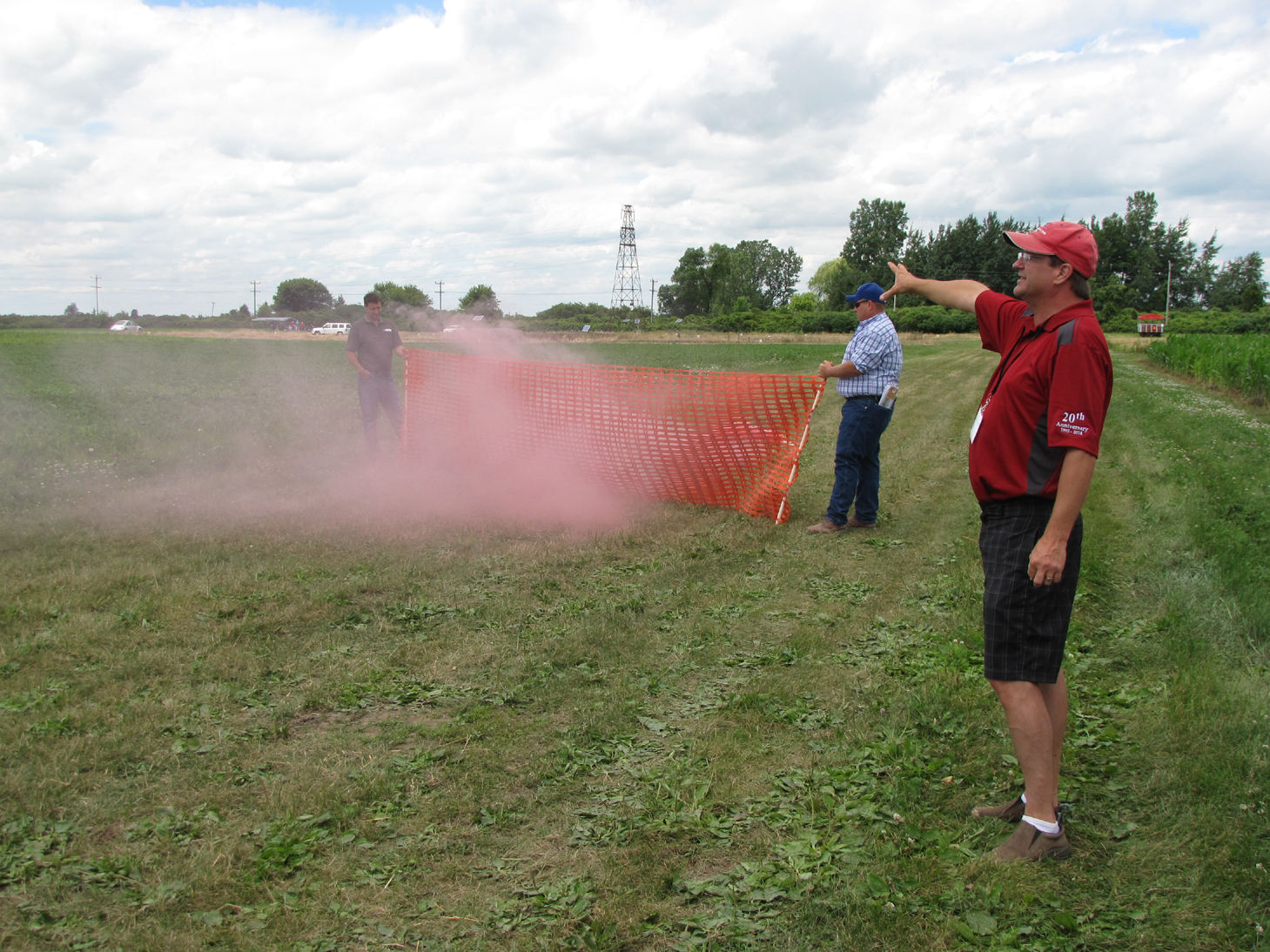 Prof. Doug Young demonstrated the effect of windbreaks on wind speeds
