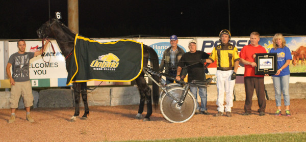 Aventure wins his 3rd OSS grassroots start in a row at Hanover Raceway. July 5th, 2014. Photo by Stacey Wight Photography.