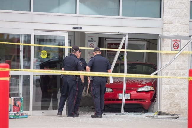 A car crashed into the Costco store in south London. July 25-14