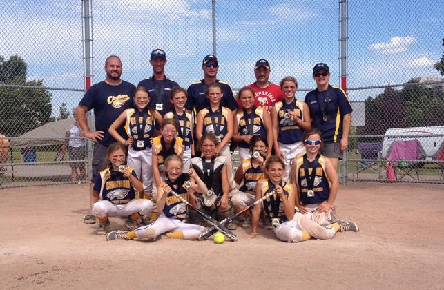 The Chatham Golden Eagles Mite Travel team after winning the Brampton Summer Blast Tournament. (Photo courtesy of the Chatham Mite Girls Softball team via. Facebook)