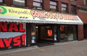 Kingsmill's back entrance with going out of business signs