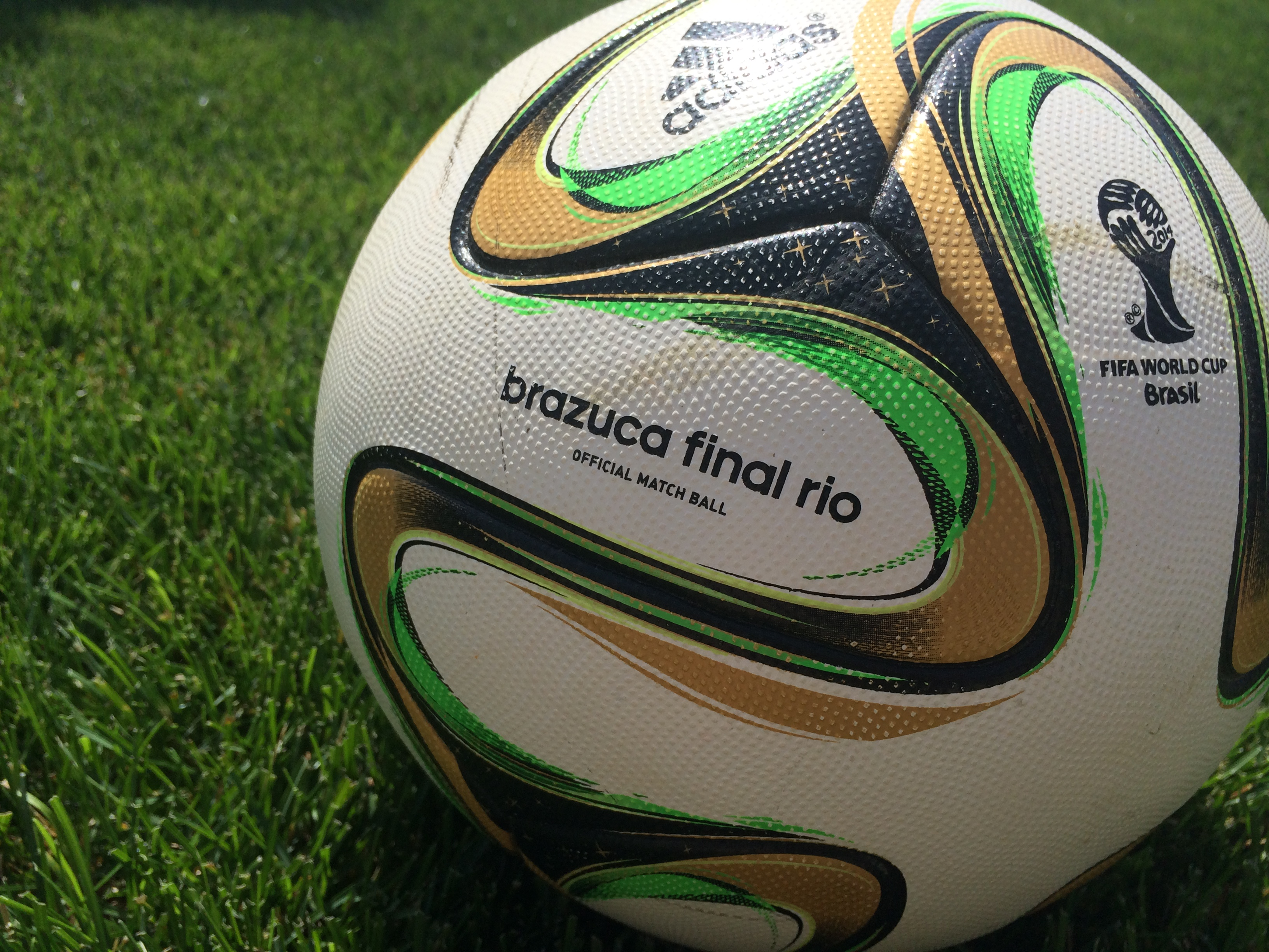 The green and gold coloured Brazuca soccer ball was used in the 2014 World Cup Final as the match ball in Brazil. (Photo by Ricardo Veneza)