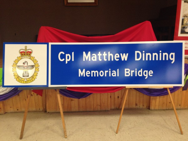 Provincial Government dedicates Hwy. 21 (Bluewater Veteran's Highway) bridge, which span Clark Creek in honour of Corporal Matthew Dinning. July 18th, 2014. (Photo by: Elizabeth Priest)