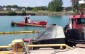 A barge carrying an excavator capsized and sank at Sarnia's Government Docks. July 31, 2014 BlackburnNews.com (Photo by Jake Jeffrey)