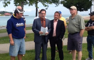 Windsor-West MP Brian Masse announcing his bill to protect the Great Lakes from invasive carp. July 30 2014 (BlackburnNews.com photo by Jake Jeffrey)