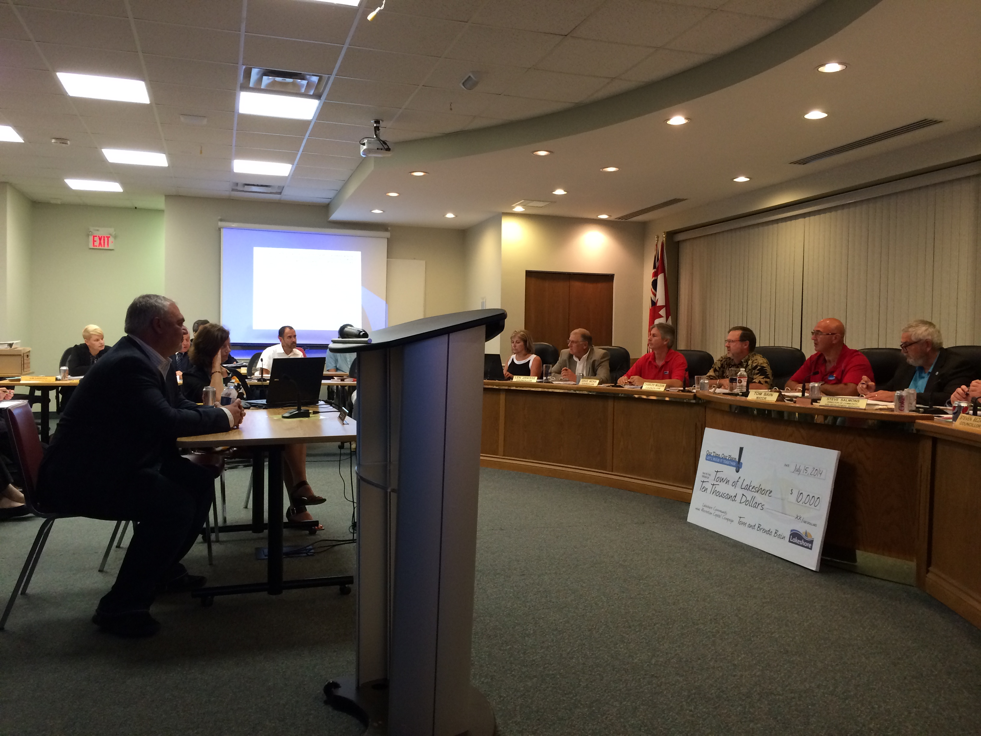 CEN Biotech President and CEO Bill Chaaban addresses Lakeshore council at its July 15, 2014 meeting as it debates a proposed bylaw regulating hemp and medical marijuana production. (Photo by Ricardo Veneza)