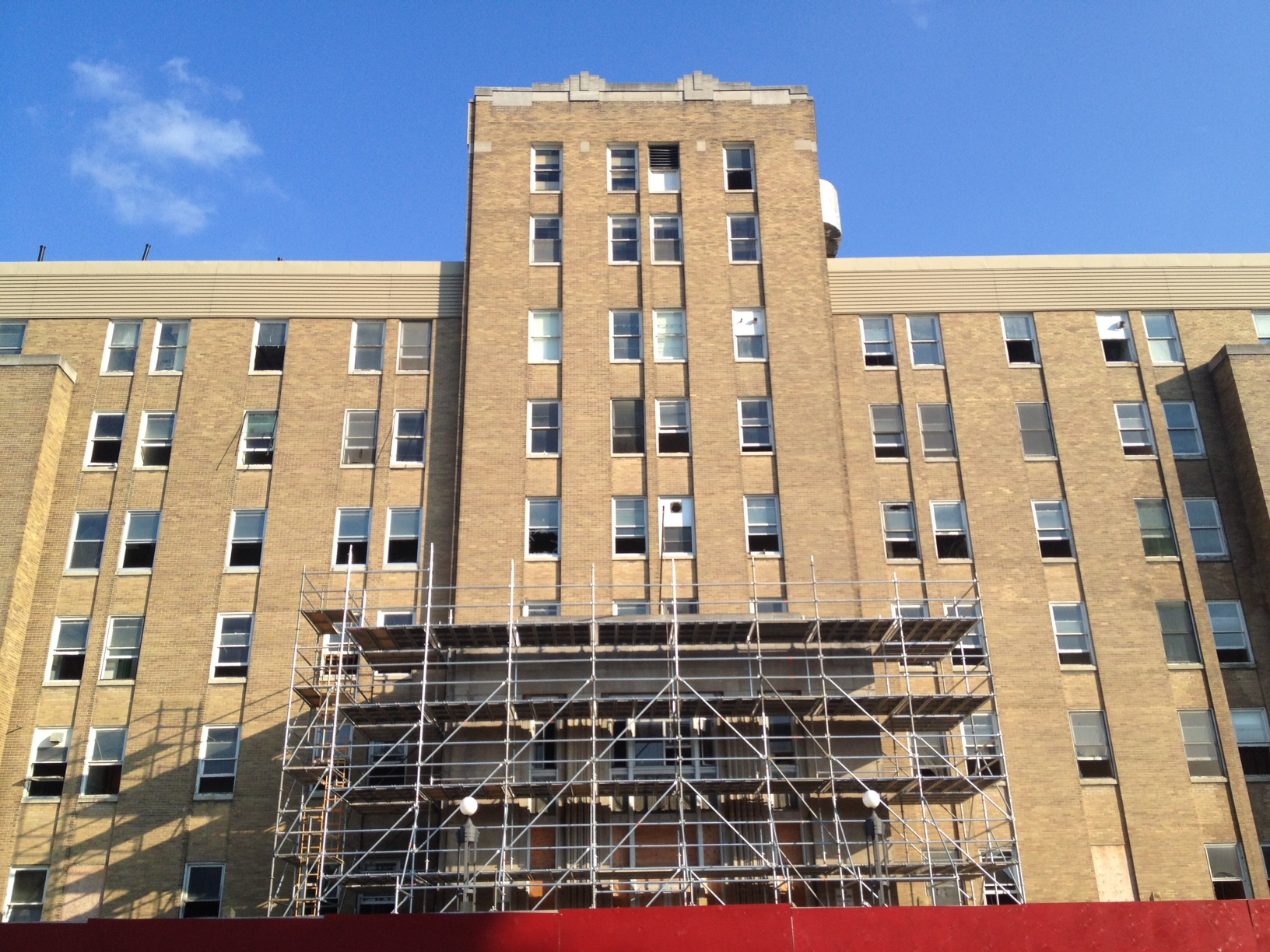 South Street Hospital with scaffolding out front, taken July 10, 2014