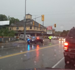 Road closed in Grand Bend following severe storm Sunday July 27, 2014. Photo submitted by Rob Jenkins.