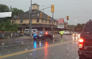 Road closed in Grand Bend following severe storm. Photo submitted by Rob Jenkins.