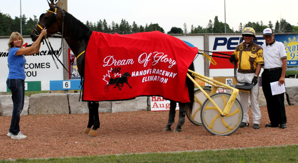 Warrawee Promesse trained and driven by Wayne Henry. July 26th, 2014. (Photo by: Stacey Wright Photography).