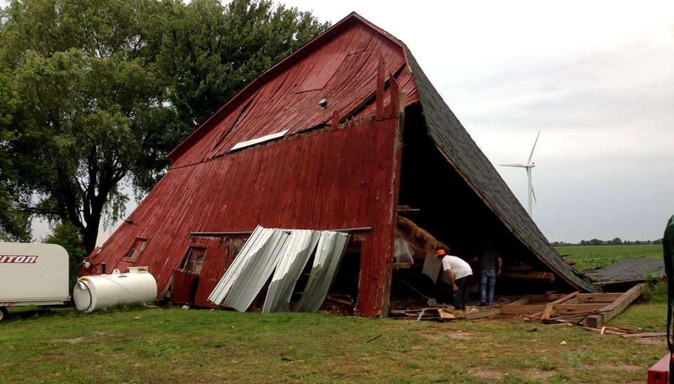 A tornado passed through Harrow causing extensive damage in some areas, August 19, 2014. (Photo courtesy of Liz Ann via Facebook)