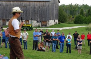 Beekeeper Hugh Simpson addresses the gathering at a Day for Bees and Agriculture in Grey County. Photo by Kirk Scott.