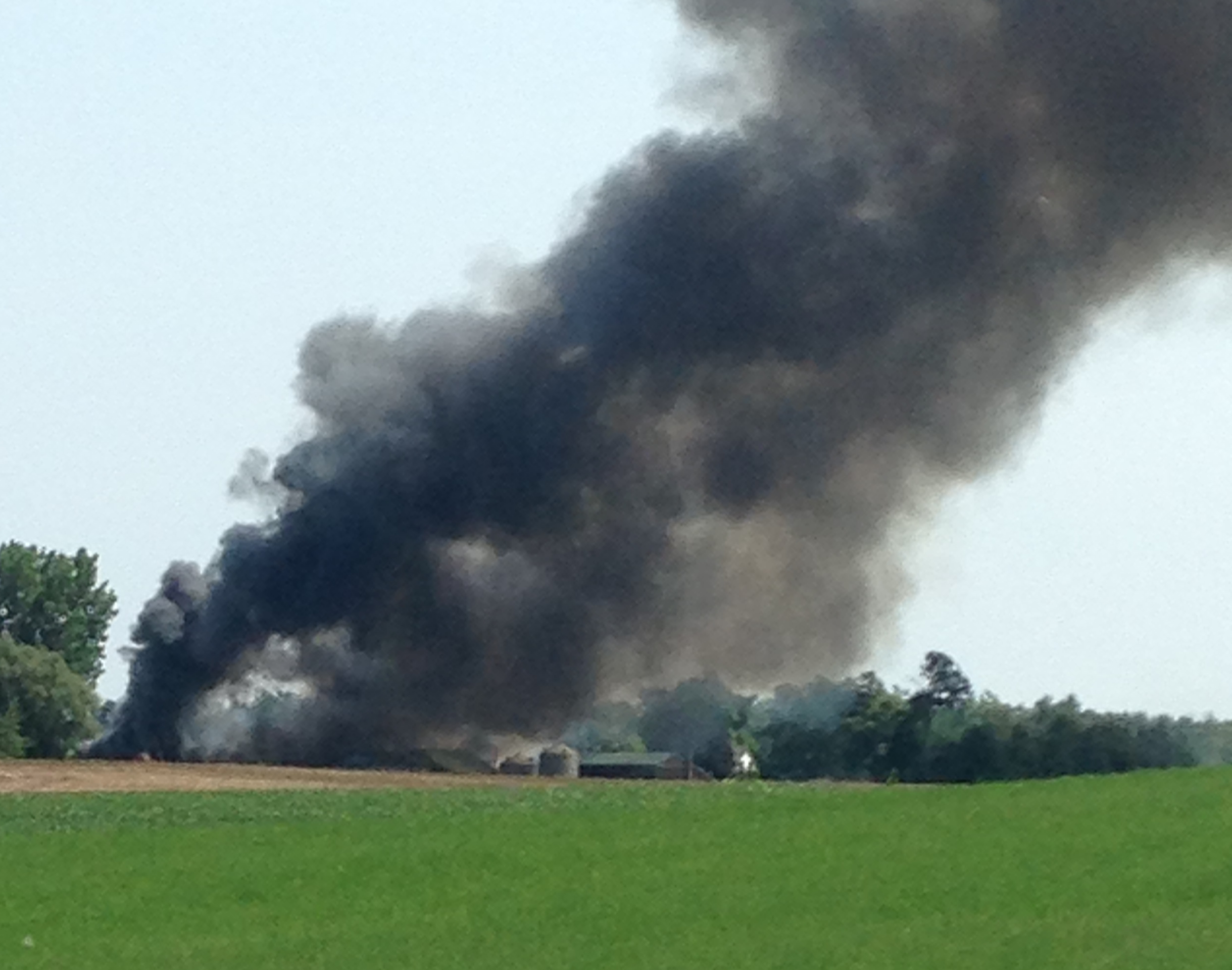 Fire crews battle a barn fire on Dorchester Rd. in Thames Centre, August 9, 2014. (Photo courtesy of Kristy Read)