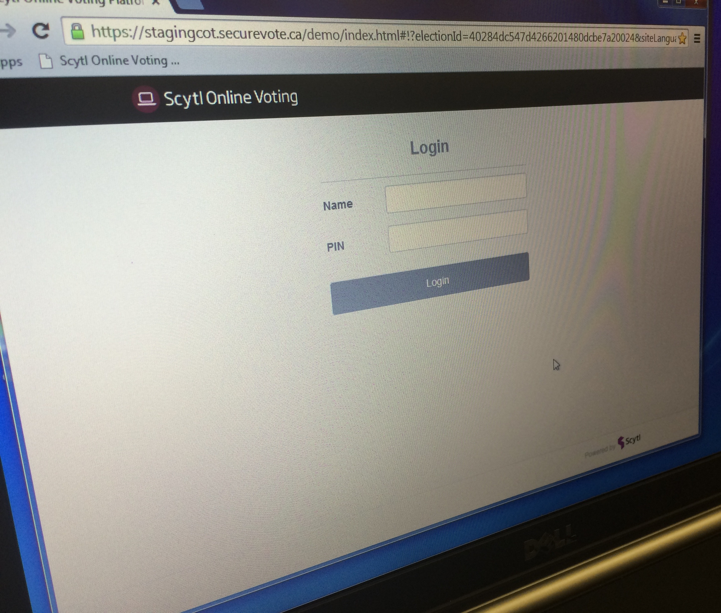 The start-up page of the online voting system Leamington will use in the upcoming 2014 municipal election is seen during a demonstration of the system at the Leamington Municipal Building on August 27, 2014. (Photo by Ricardo Veneza)
