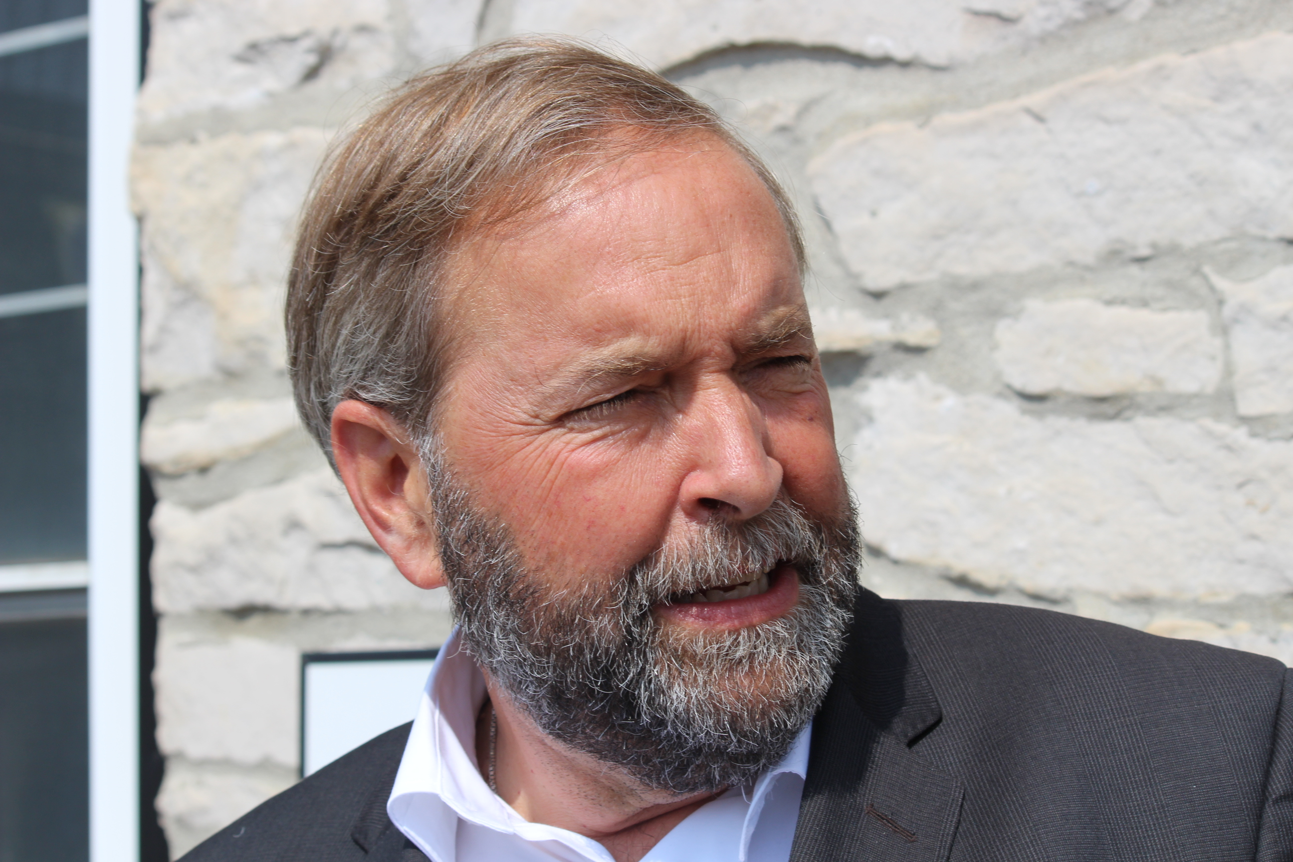 Federal NDP Leader Thomas Mulcair meeting with veterans in Amherstburg, August 21 2014. (Photo by Adelle Loiselle.)