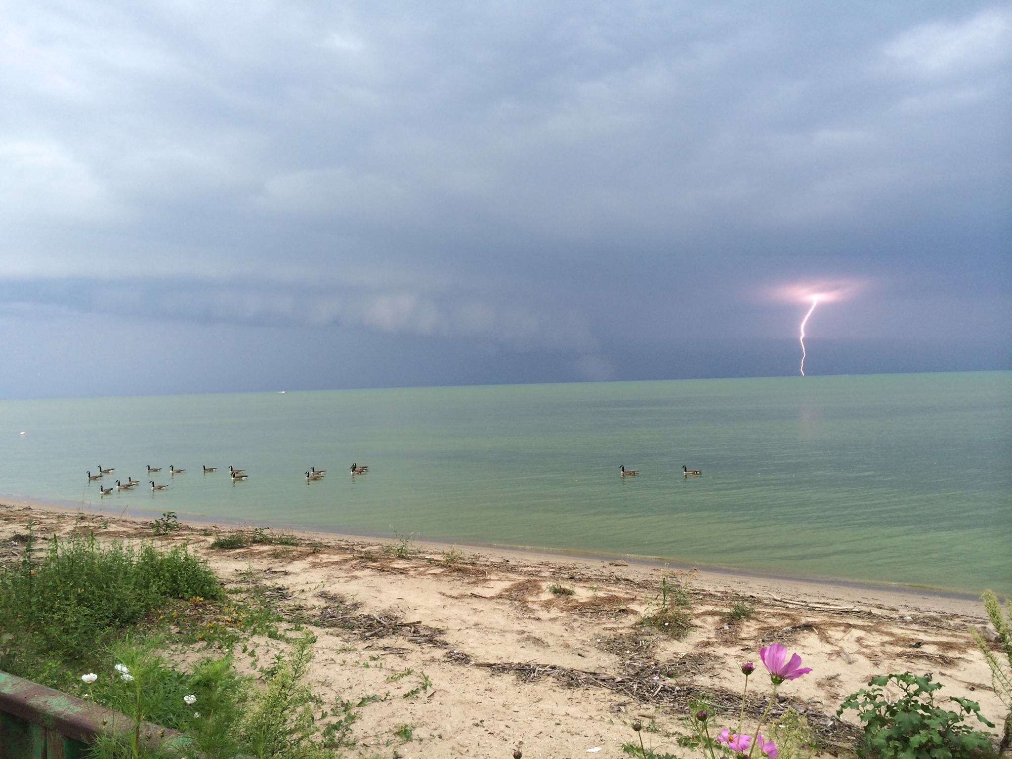 A lightning strike is seen in this photo taken in Belle River on Lake St. Clair on August 26, 2014. (Photo courtesy Adam Hooper)