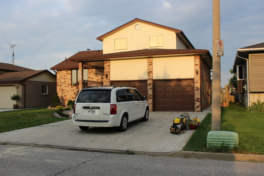 Damage at a LaSalle house fire on Rushwood Cres. August 18, 2014. (Photo by Maureen Revait)