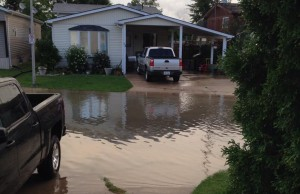 A photo of flooding in McGregor on August 11, 2014. (Photo submitted by Karlie Lauren Herold via Facebook)