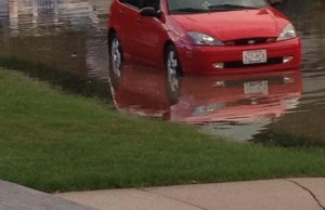 A photo of flooding in McGreggor on August 11, 2014. (Photo submitted by Karlie Lauren Herold via Facebook)