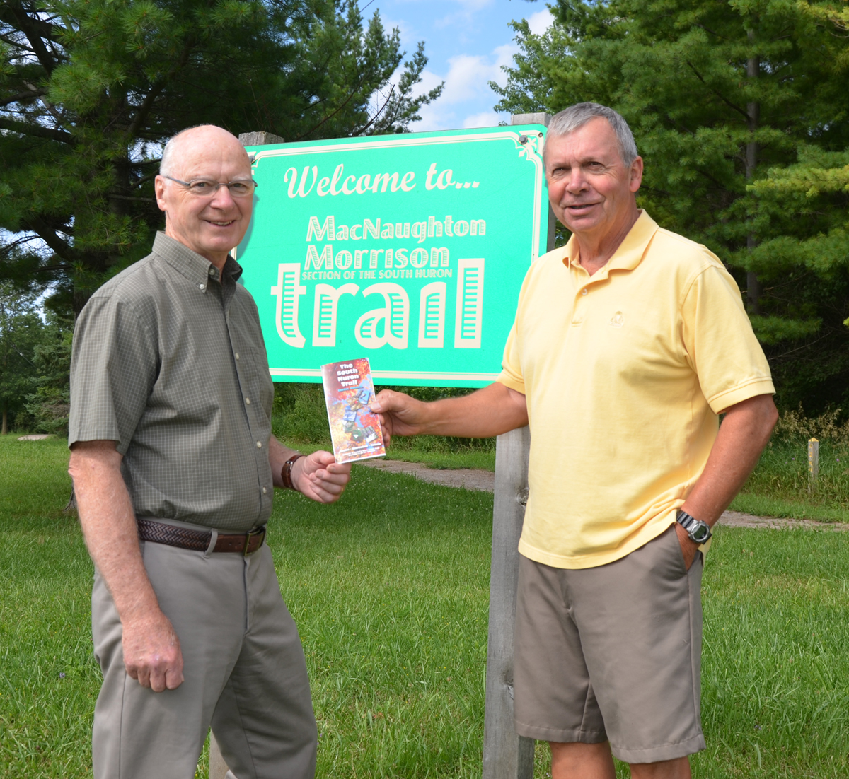 Lorne Rideout is Co-Chair of the Friends of the South Huron Trail and Jim O'Toole is Past Chair. The two volunteers are also members of the community committee organizing celebrations in 2014 to mark the Tenth Anniversary of the MacNaughton-Morrison Section of the South Huron Trail.