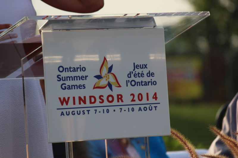 Ontario Summer Games sign from Aug. 7, 2014 opening ceremonies. (photo by Adelle Loiselle)