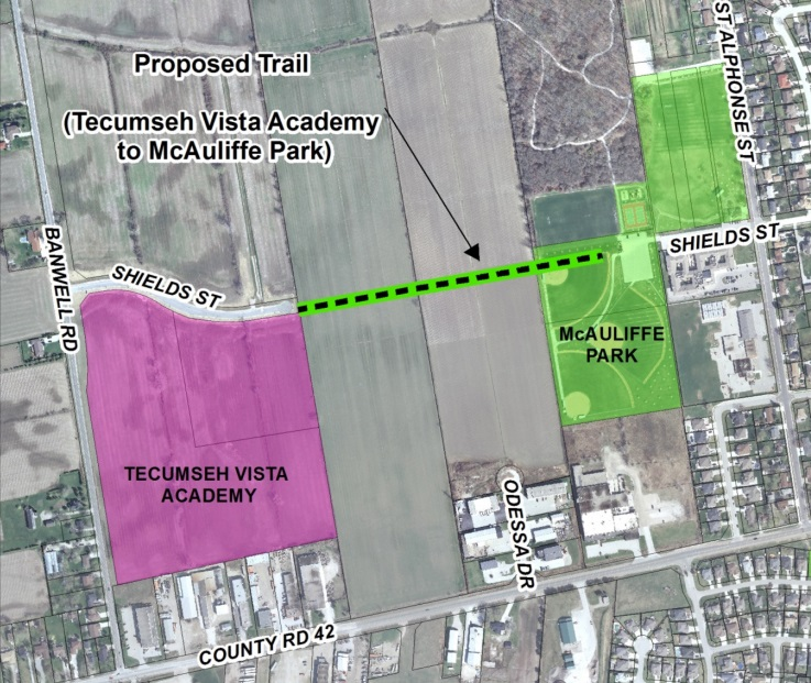 Plan for the proposed trail to connect Tecumseh Vista Academy to McAuliffe Park.