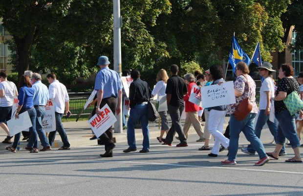 Members of WUFA rally in front of the University of Windsor, August 21, 2014. (Photo by Maureen Revait)