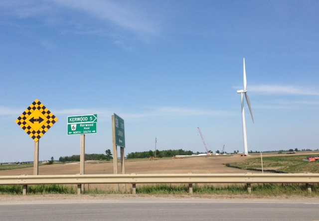 Wind turbine construction off Hwy 402 at Kerwood. BlackburnNews.com (Photo by Melanie Irwin)