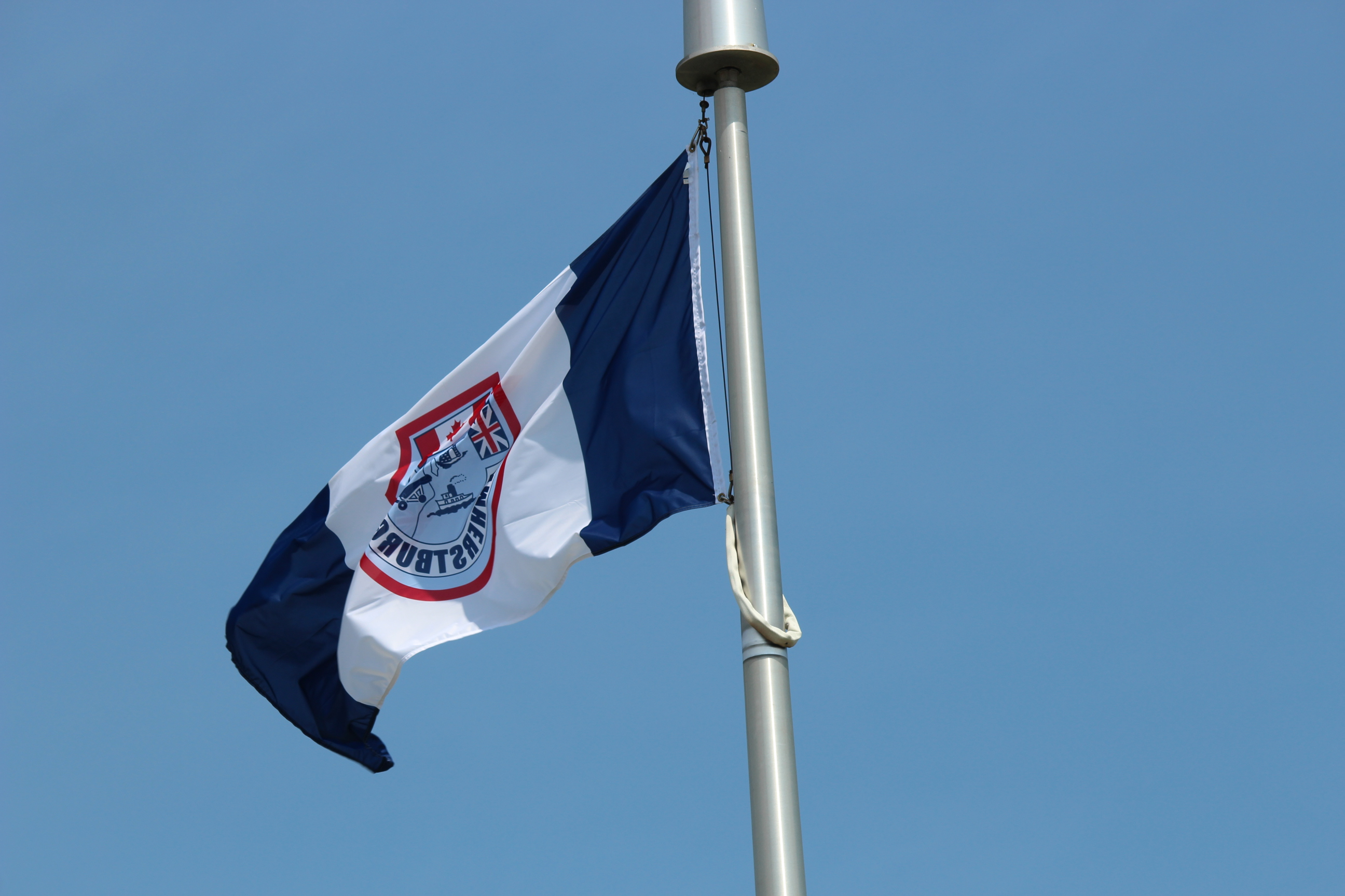 The Amherstburg town flag. (Photo by Adelle Loiselle.)