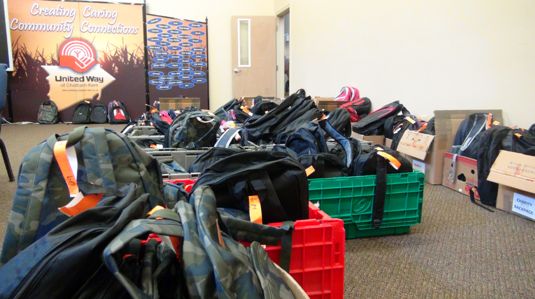 United Way backpacks destined for Chatham-Kent students. Aug. 25 2014 (Photo by Trevor Thompson.)