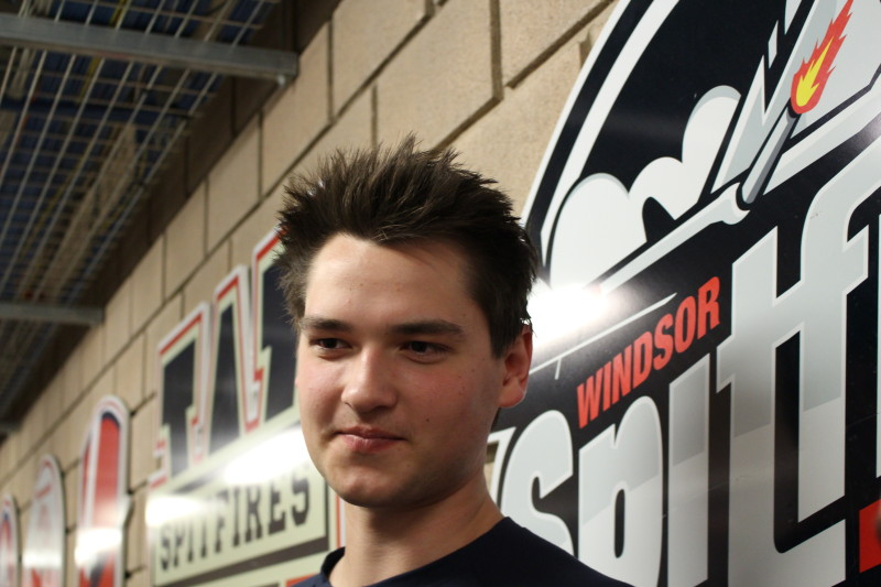 The Windsor Spitfires' Logan Brown. (Photo by Adelle Loiselle.)
